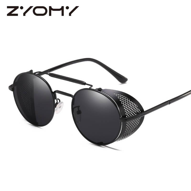 Круглые мужские и женские очки Q в стиле панк, антибликовые цветные очки в стиле ретро для вождения, брендовые дизайнерские очки, солнцезащи...