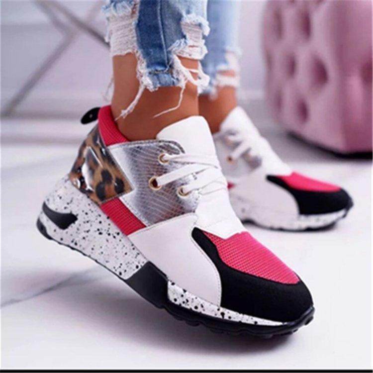 Лидер продаж, леопардовая обувь на платформе, женские туфли, новинка 2021, модные кроссовки, сетчатые дышащие женские туфли на высоком каблуке