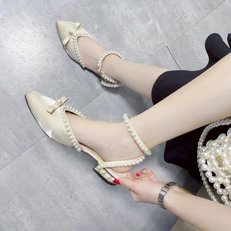 Модная женская обувь 2021, сандалии с закрытым носком, украшенные бисером, обувь на низком каблуке, красивая женская обувь, одеяло, женские сан...