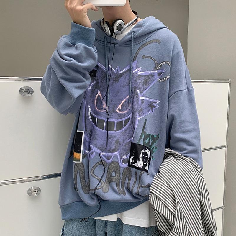 New Spring Hoodie Men Harajuku Devil Print Fashion Casual Hoodies Loose Hip Hop Sweatshirt Men's Streetwear мужская одежда