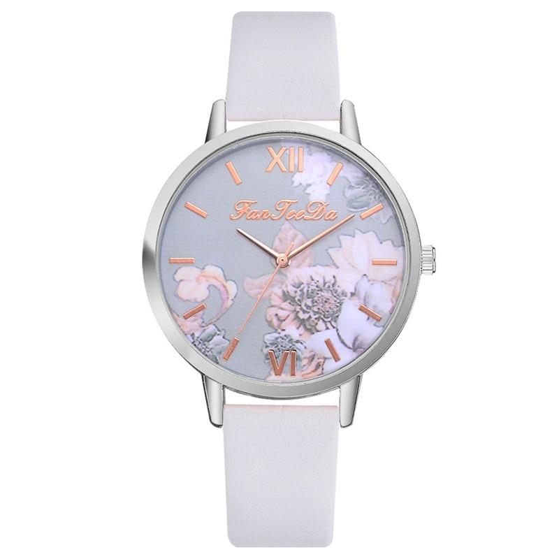 Новые модные брендовые часы, женские часы, кварцевые часы с цветочным принтом, часы с кожаным ремешком для женщин, подарок, relogio feminino # C