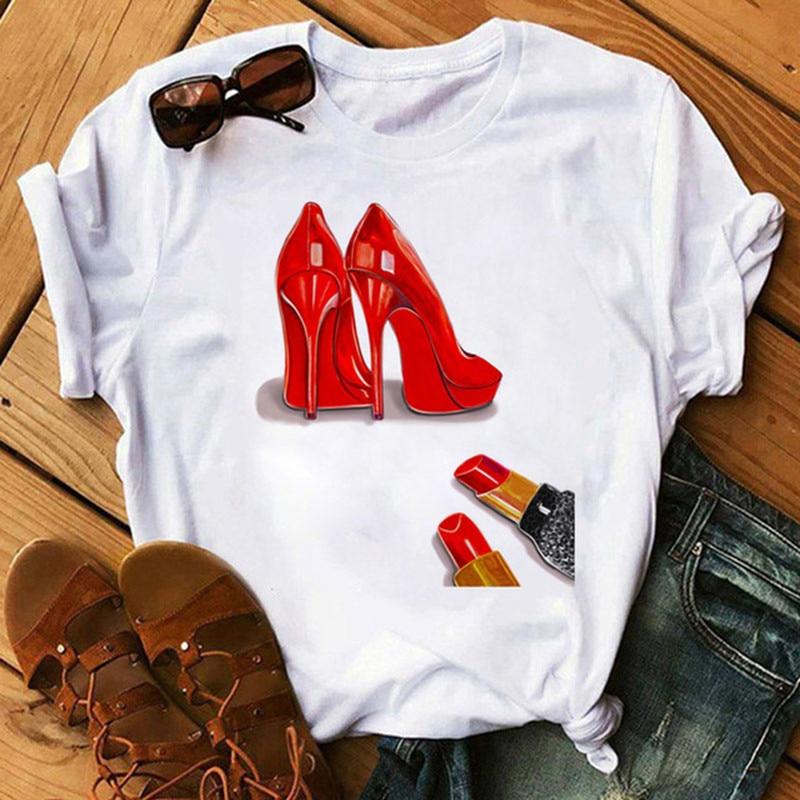 Новые модные женские туфли футболка Красные Туфли на высоких каблуках и с принтом в виде губной помады Vogue футболка женский Harajuku футболка 90s ...