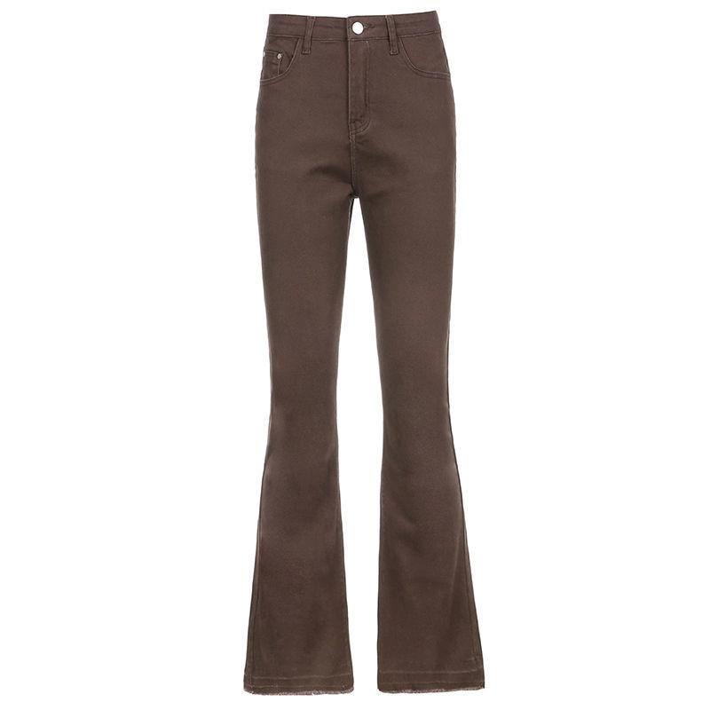 Однотонные эластичные джинсы с высокой талией, женские тонкие брюки-микро с высокой талией, женские брюки, брюки на весну и осень, ins tide A113