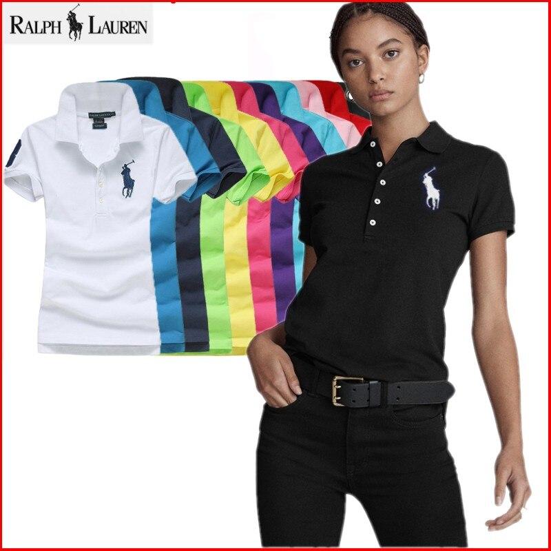 Оригинальная брендовая рубашка-поло, женские топы, летние модные топы с коротким рукавом, одежда, однотонная, 100% хлопок, повседневная женска...