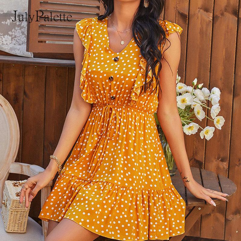 Платье Julypalette женское с V-образным вырезом, желтый пляжный сарафан в горошек, без рукавов, с оборками, в богемном стиле, на шнуровке, на лето