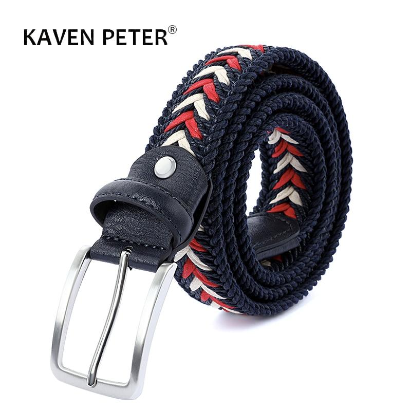 Плетеный ремень унисекс для мужчин и женщин, тканевый, кожаный, без отверстий, с пряжкой с язычком, дизайнерский