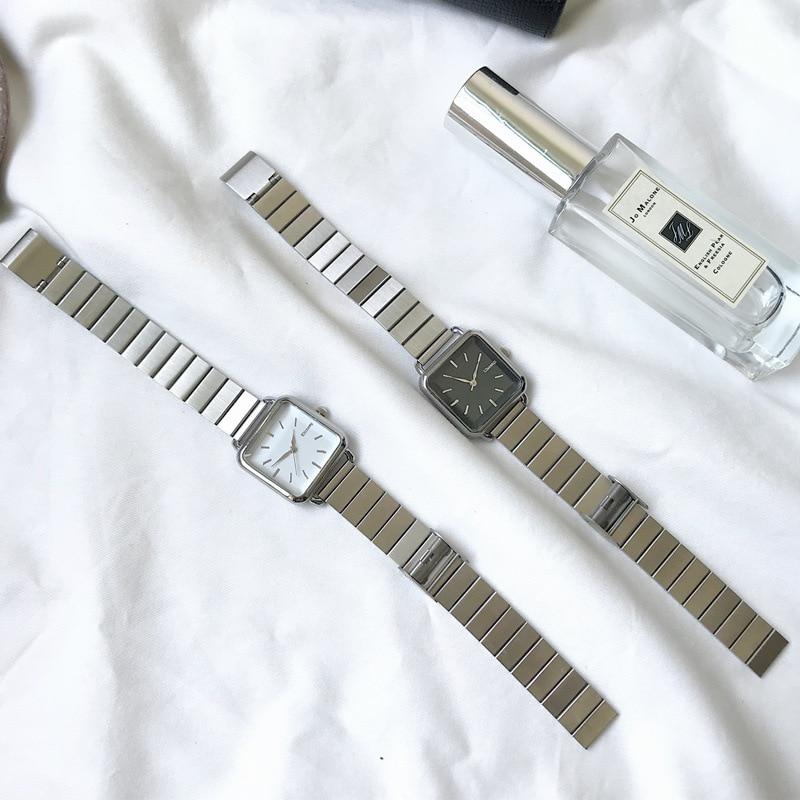 Простые Серебряные женские часы Ulzzang брендовые изысканные женские наручные часы из нержавеющей стали модные минималистичные женские кварц...
