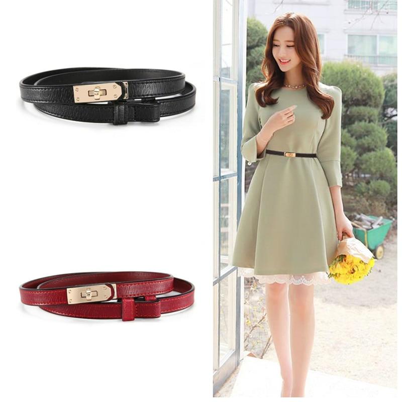 Ремень из натуральной воловьей кожи для женщин, роскошный брендовый регулируемый пояс, тонкий белый, красный, для платьев и джинсов