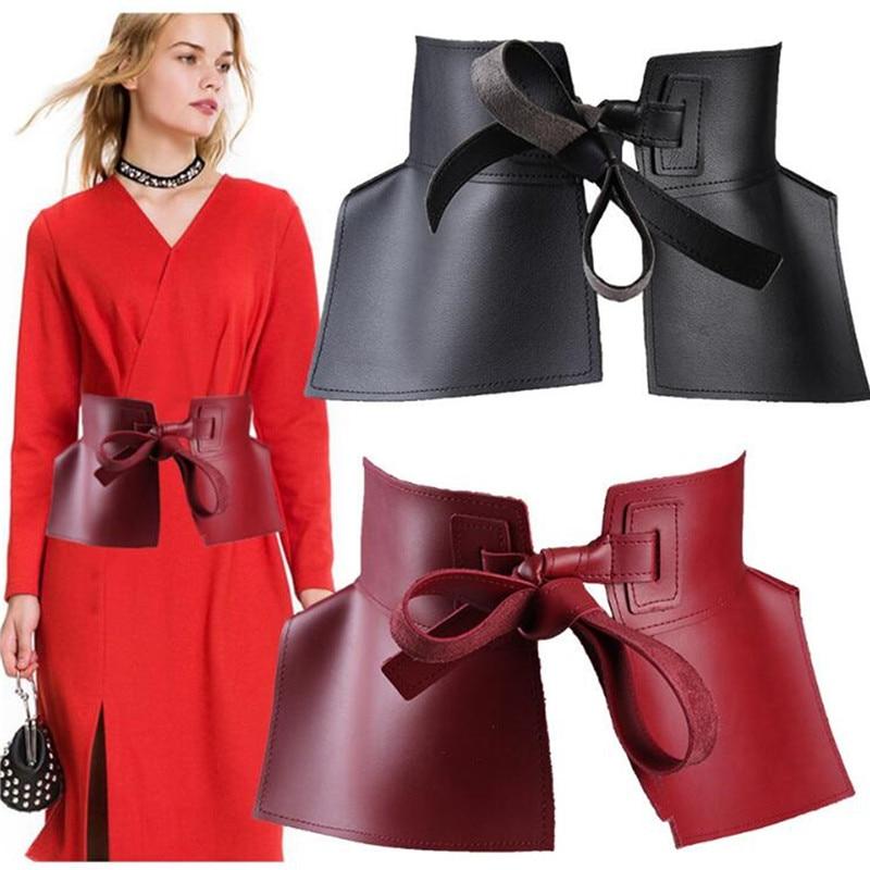 Ремень из ПУ кожи Женский, модный однотонный Универсальный пояс с бантом, чёрный красный, весна