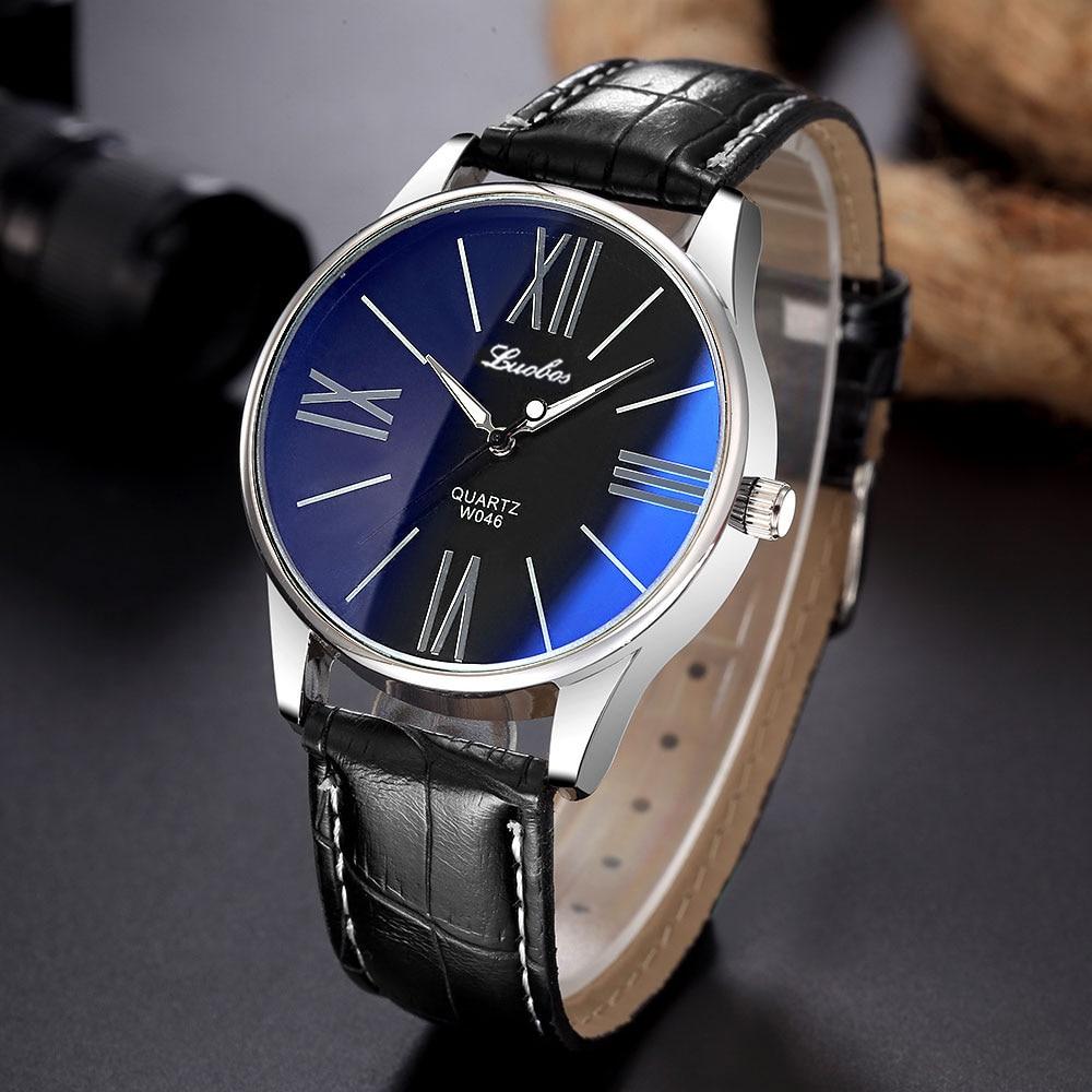 Роскошные модные брендовые кварцевые часы, мужские и женские повседневные деловые наручные часы с кожаным ремешком 8O79