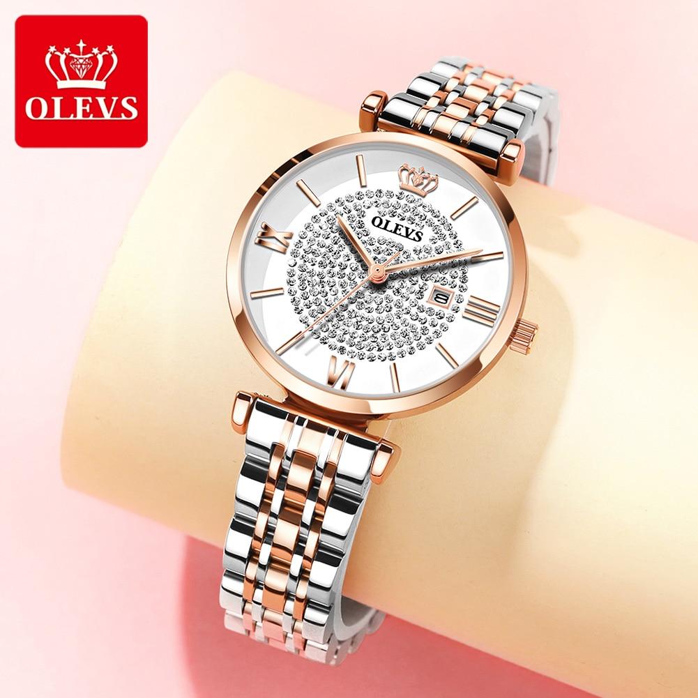 Роскошные женские часы OLEVS со стразами, Брендовые женские часы с сетчатым ремешком, женские модные кварцевые часы, браслет, мужские часы, под...