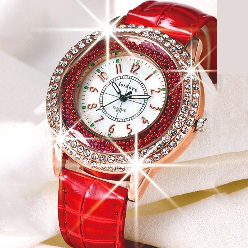Runer женские Стразы роскошные кожаные Брендовые женские часы горячая мода женское платье Relogio Feminino Бесплатная доставка
