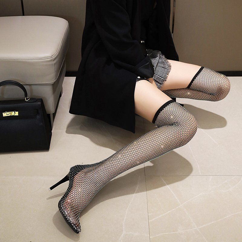 Сандалии женские на высоком каблуке, пикантные сетчатые носки для ночного клуба, туфли на высоком каблуке, босоножки, лето