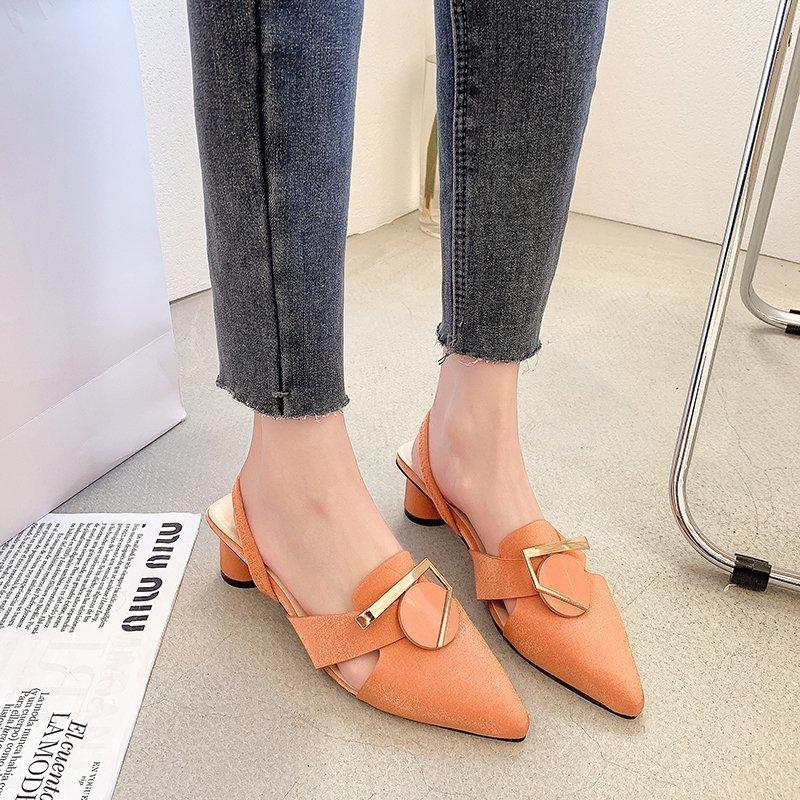 Сандалии женские с острым носком, толстые кожаные босоножки, модная удобная обувь с белым воротником, 2021