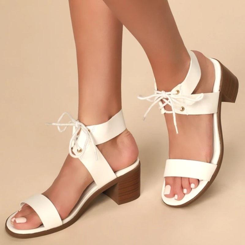 Сандалии женские со шнурками, Босоножки с открытым носком, на среднем каблуке, вечерняя Обувь, большие размеры