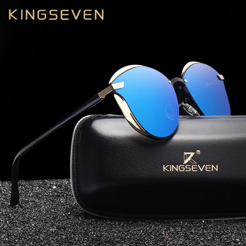 Солнцезащитные очки KINGSEVEN поляризационные женские, зеркальные солнечные аксессуары «кошачий глаз», модные