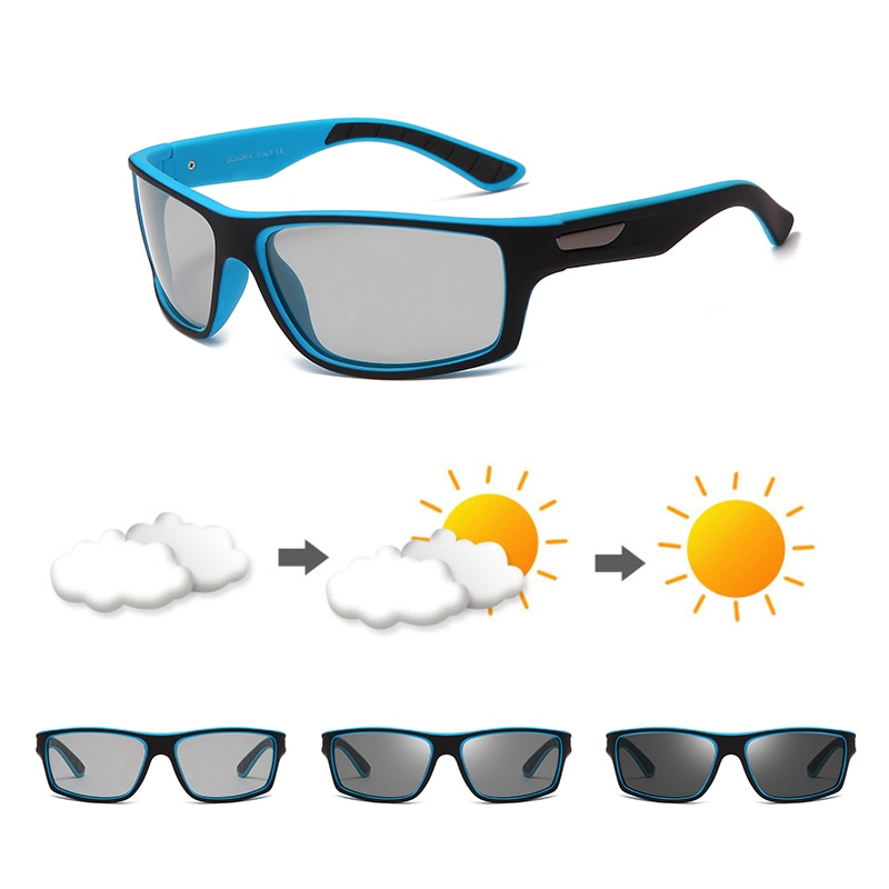 Солнцезащитные очки поляризационные для мужчин и женщин UV-400, фотохромные, квадратной формы, с защитой от ультрафиолета