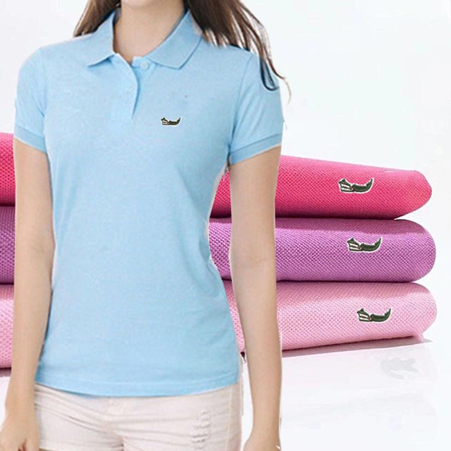 В продаже оригинальные сетки 100% хлопок Лето для женщин с коротким рукавом футболки-Поло женские рубашки топы с вышитыми рыбками, логотип, ру...