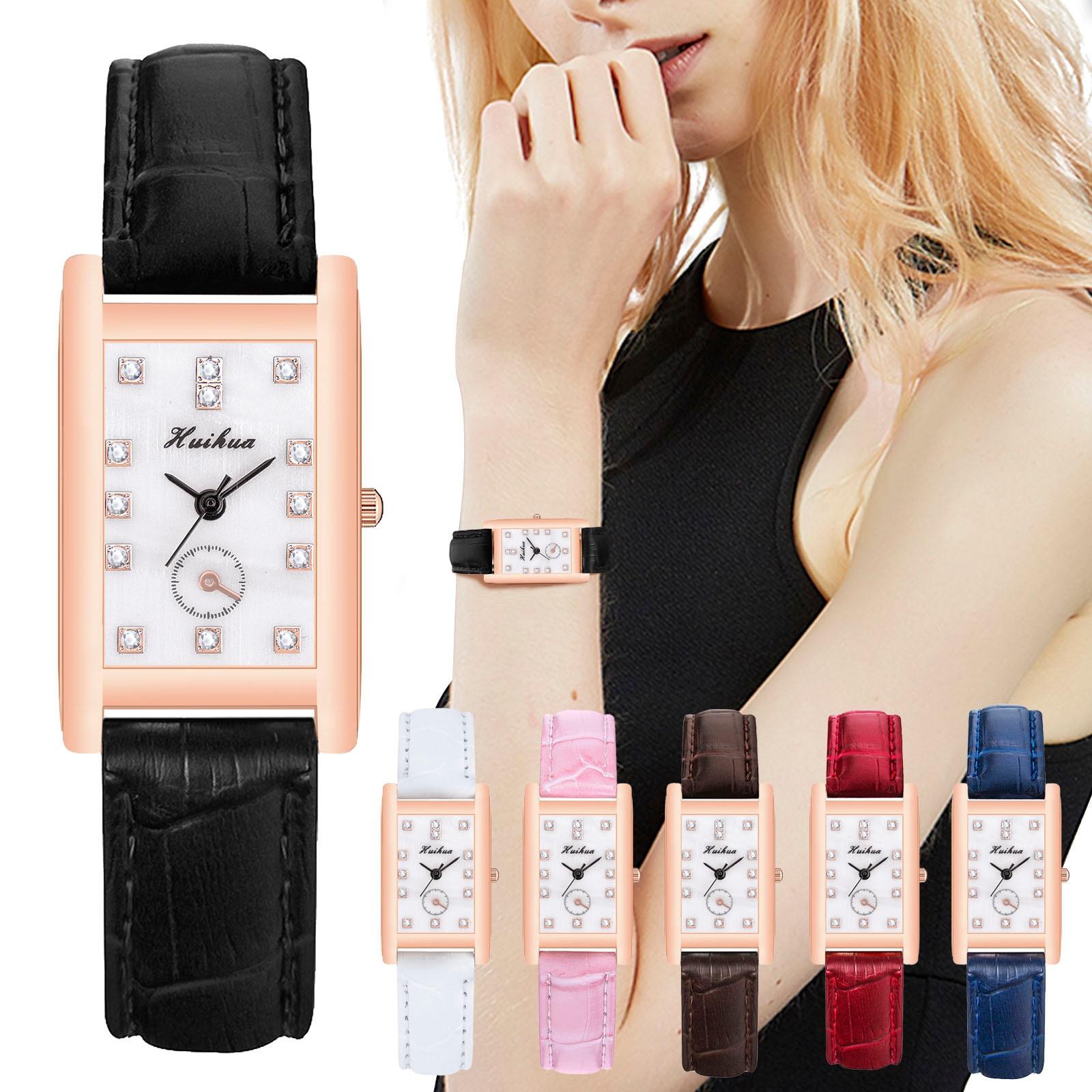 VANSVAR брендовые прямоугольные кварцевые часы с кристаллами и кожаным ремешком из нержавеющей стали часы для женщин наручные часы Montre Femme