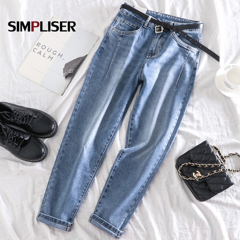 Винтажные женские джинсы, прямые брюки из денима, синие и серые женские эластичные джинсы, брюки высокого качества, женские джинсы в стиле р...
