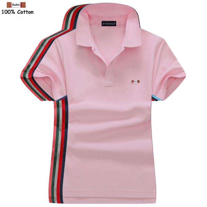 Высококачественные женские футболки-поло с коротким рукавом, повседневные однотонные хлопковые рубашки-поло, модные женские топы, лето 2020, ...