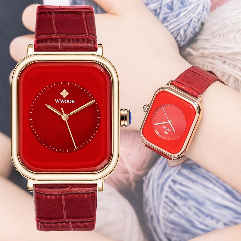 WWOOR часы для женщин наручные часы 2021 новый бренд класса люкс японским кварцевым механизмом красные кожаные ЖЕНСКИЕ НАРЯДНЫЕ Часы Relogio Feminino