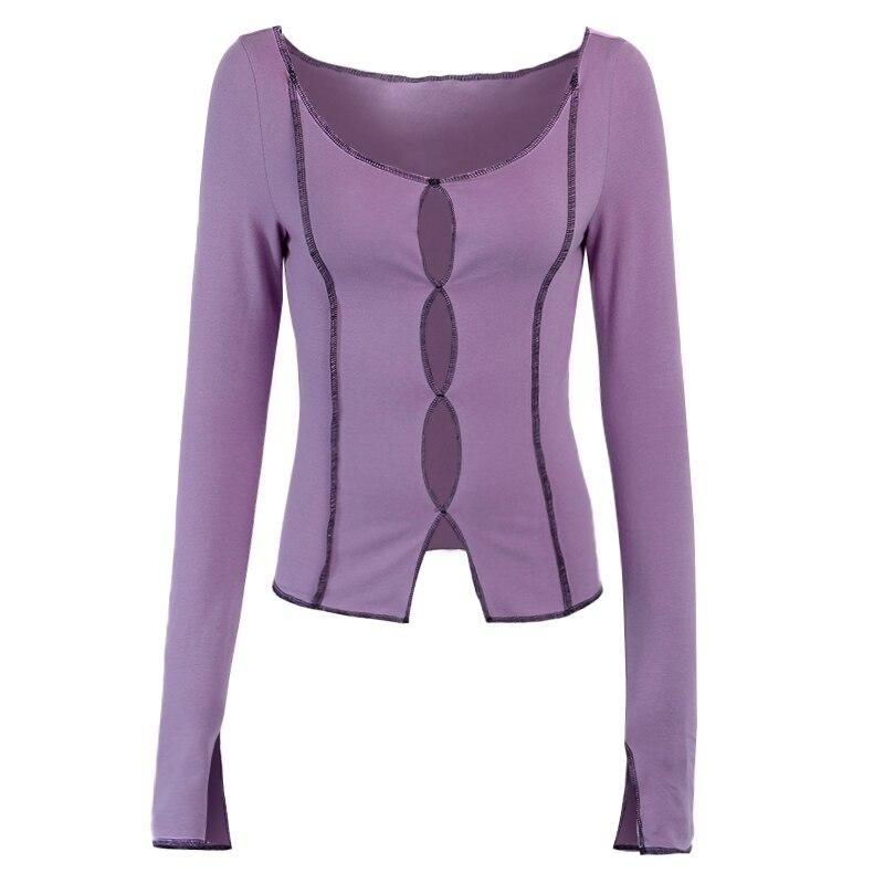 XUXI 2021 Весенняя женская Сексуальная футболка с длинным рукавом, Модная Тонкая футболка с вырезом сзади E1735
