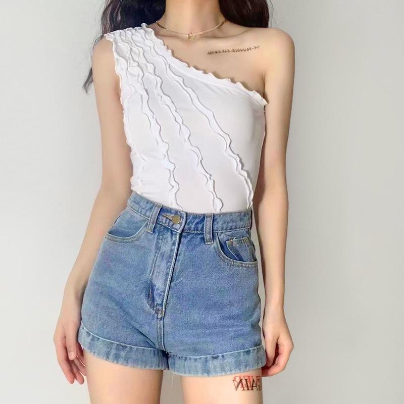 Женская Летняя Сексуальная футболка XUXI 2021, тонкий укороченный топ с деревянными ушками, кофта E1588