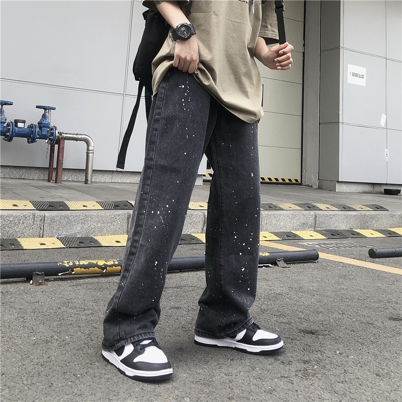 Женские джинсы 2021, модная новинка, уличная одежда с брызгами чернил, Широкие джинсовые брюки с высокой талией в стиле Харадзюку, черные, серы...