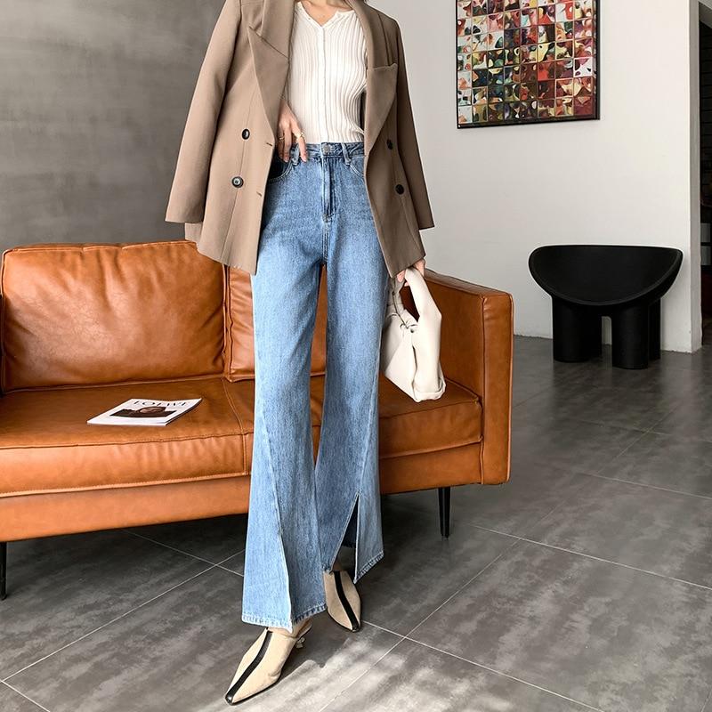Женские джинсы-клеш с высокой талией, винтажные прямые синие брюки в стиле Харадзюку С Боковым Разрезом спереди, длинные джинсовые брюки в с...