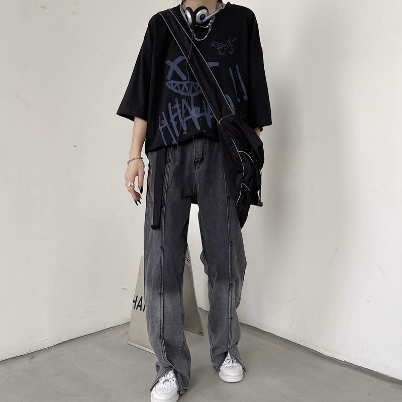 Женские джинсы, Новинка лета 2021, Y2K, Харадзюку, градиентные цвета, джинсовые брюки, широкие брюки с высокой талией, Мешковатые повседневные в...