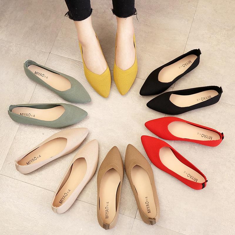Женские туфли на плоской подошве, балетки, дышащие вязаные туфли с острым носком, женская мягкая обувь разных цветов, женские туфли 35-40, 2021