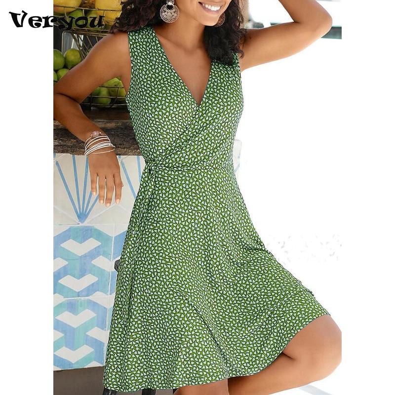 Женское Повседневное платье в горошек, Бандажное пляжное платье без рукавов с V-образным вырезом, летние богемные платья, новинка 2021