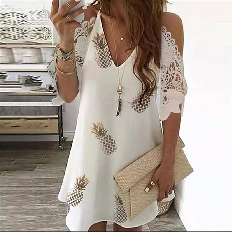 Женское винтажное платье на бретельках, Повседневное платье с цветочным принтом, открытыми плечами и V-образным вырезом, кружевное ажурное ...