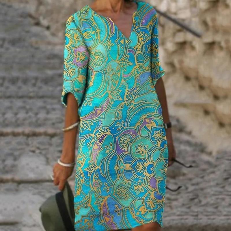 Женское винтажное платье-трапеция с принтом, V-образным вырезом и рукавом до локтя, повседневный модный весенний женский свободный сарафан ...